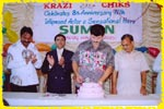 Mr. Suman cutting the 8th anniversary cake of Krazi Chiks, click here to see large picture.